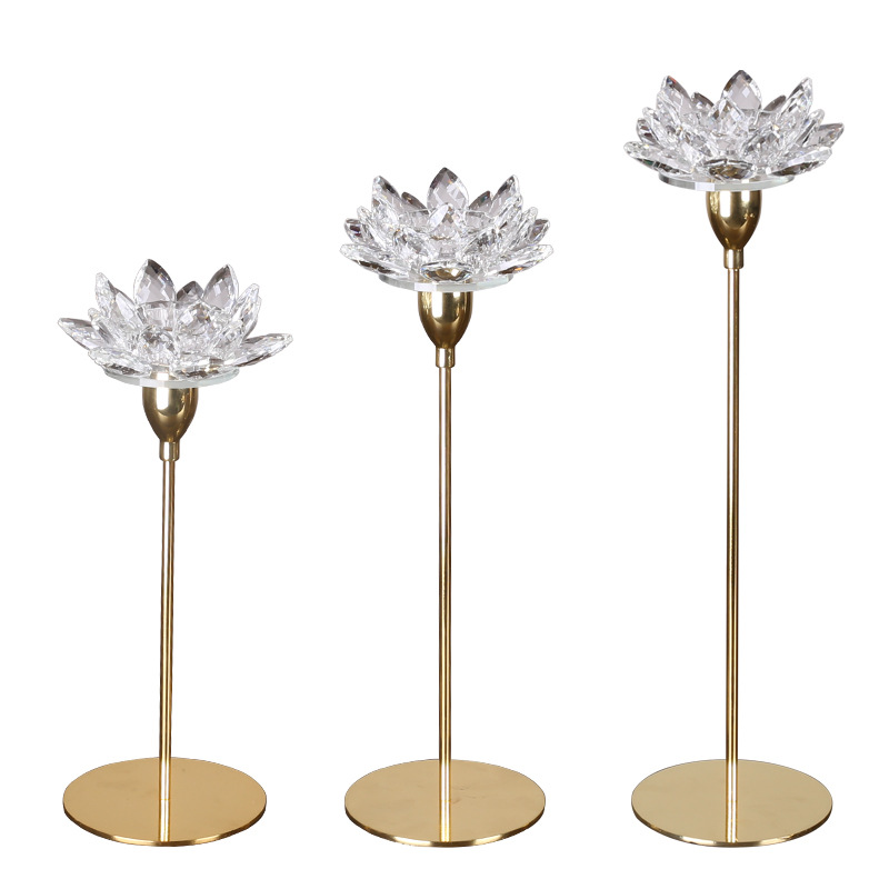 4 inch crystal lotus flower candle holder with metal base for home decoration