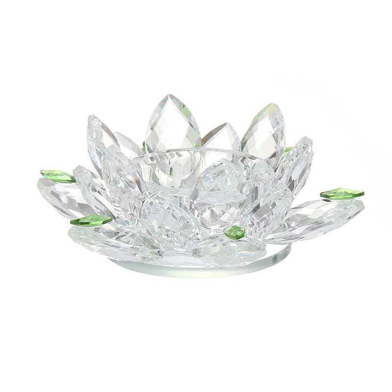 5 inch clear crystal lotus candle holder favors