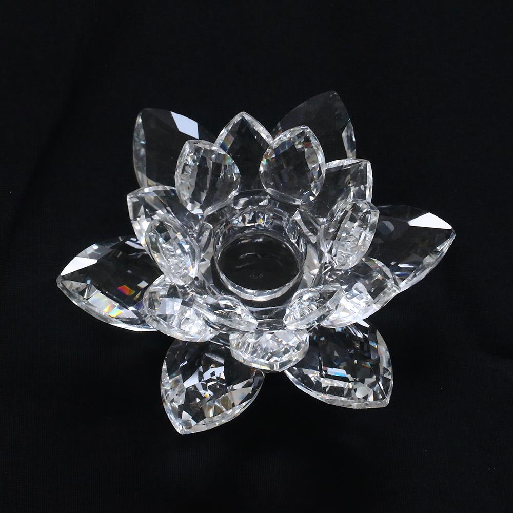 4 inch crystal lotus flower candle holder