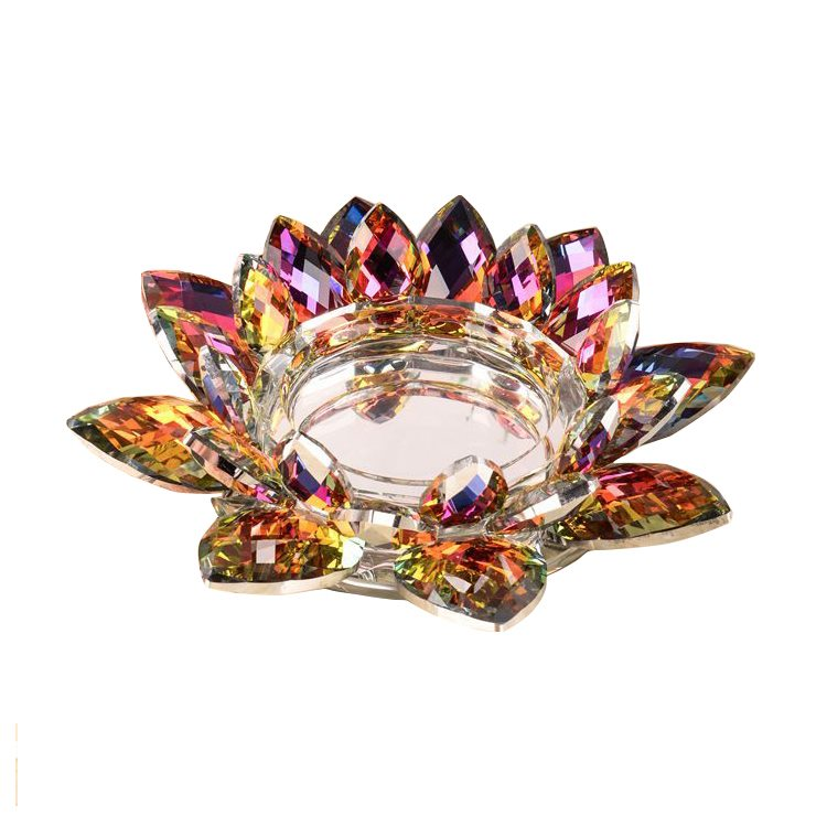 Colorful Crystal lotus flower candlestick