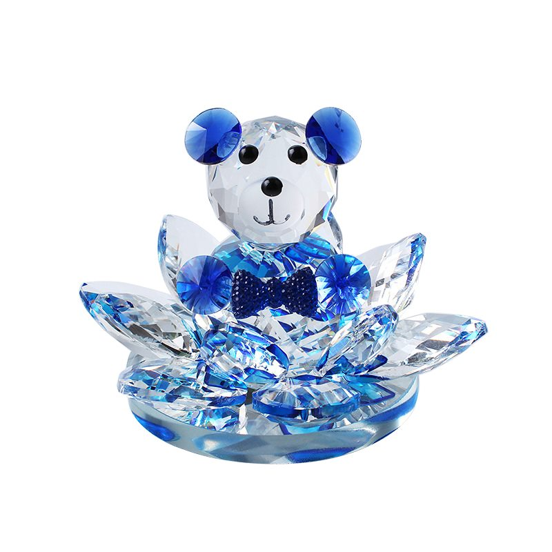 crystal bear with lotus flower base for home decoration,crystal gift