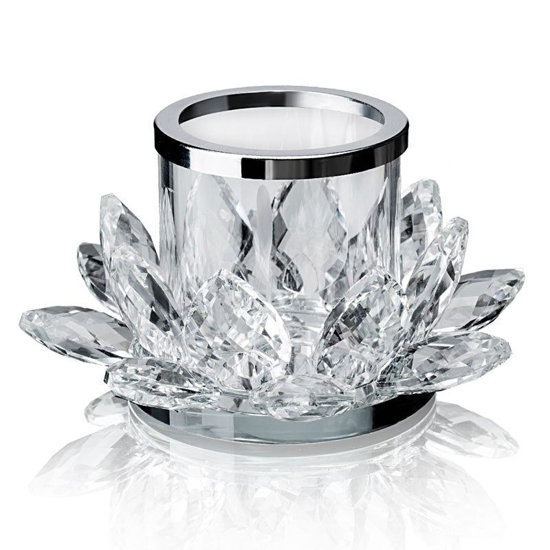 4.7 inch clear crystal lotus flower candle holder