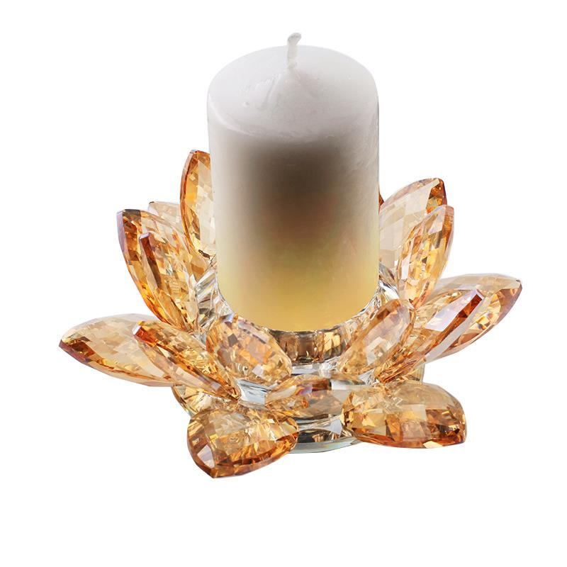 6 inch crystal lotus candle holder