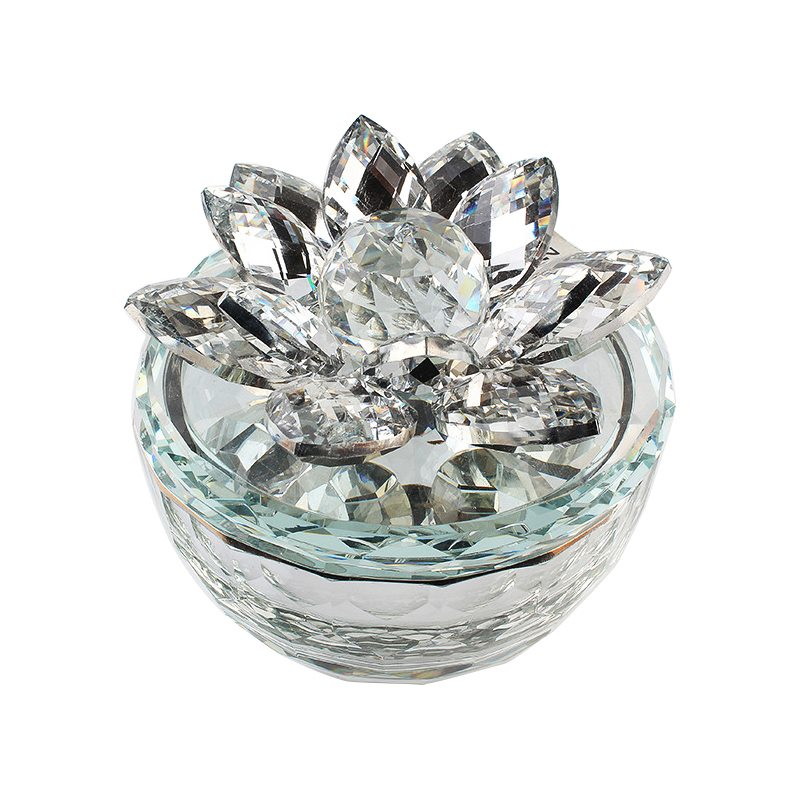 5 inch clear crystal lotus candle holder favors.